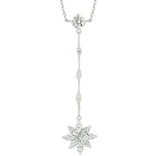 Kate Bissett Flower Drop Cubic Zirconia Necklace