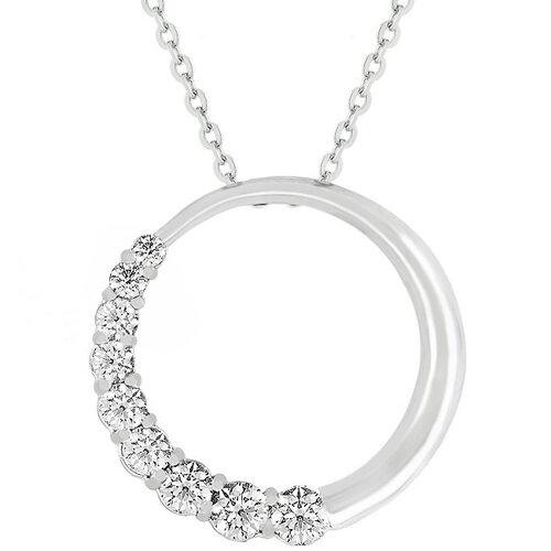 Cubic Zirconia Half Moon Necklace
