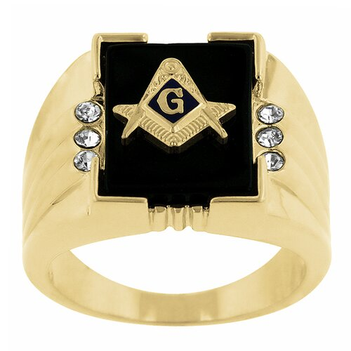 Round Cut Cubic Zirconia Accents Masonic Ring