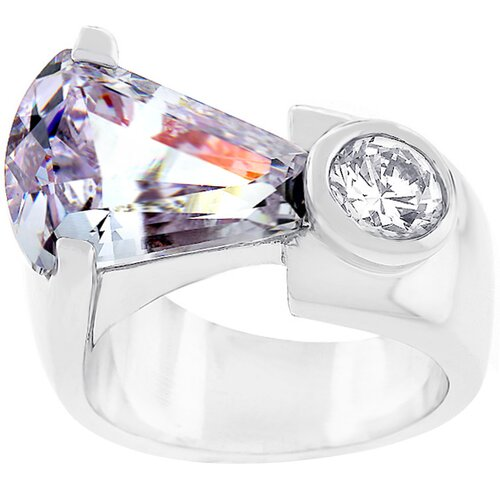 Silver-Tone Lavender Cubic Zirconia Fashion Ring