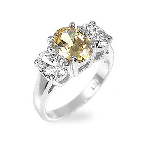 Kate Bissett Sterling Silver Oval-Cut Yellow Cubic Zirconia Ring