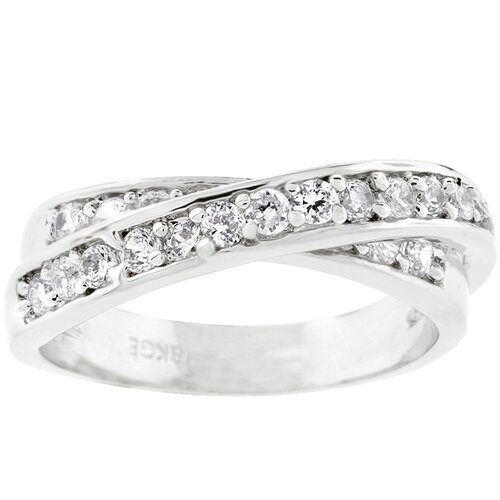 Kate Bissett Silver-Tone Cubic Zirconia Criss-Cross Eternity Band