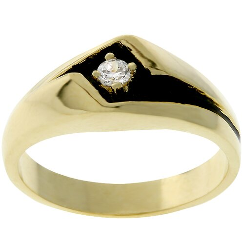 Men's Gold-Tone Black Enamel Cubic Zirconia Ring