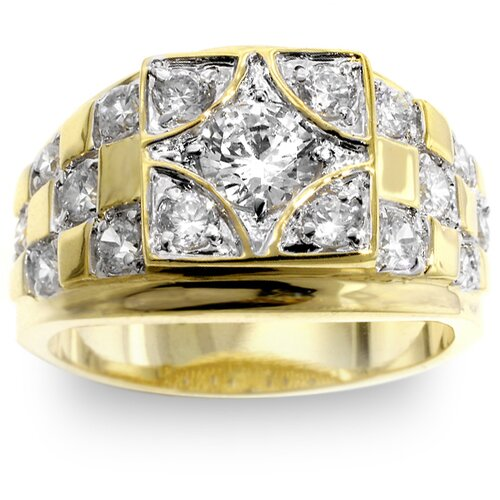 Men's Two-Tone Checkerboard Cubic Zirconia Ring