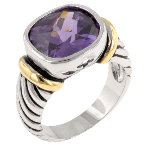 Oval Cut Amethyst Cubic Zirconia Tutone Cable Ring