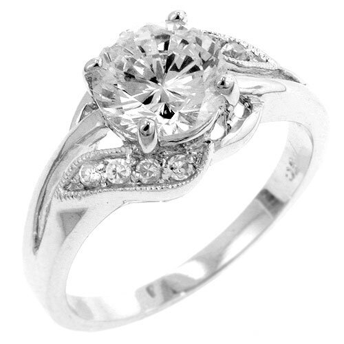 Silver-Tone Clear Cubic Zirconia Ring
