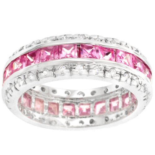 Kate Bissett Sterling Silver Pink Cubic Zirconia Eternity Band