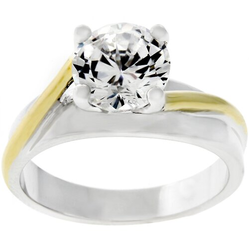 Two-tone Cubic Zirconia Solitare Ring