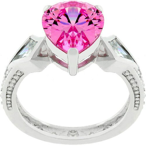 Sterling Silver Cubic Zirconia Cocktail Pink Pear-Cut Ring