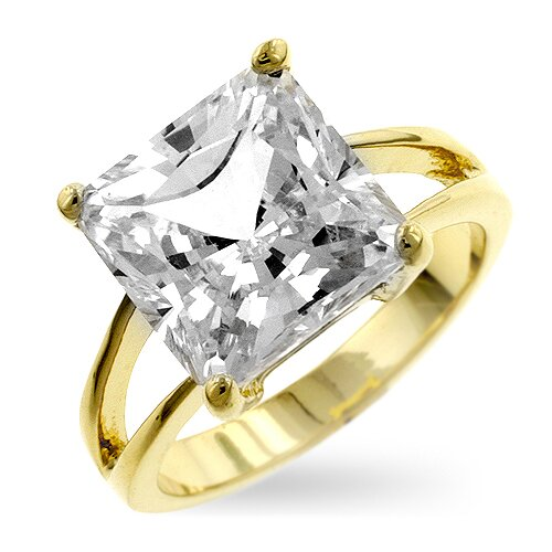 Gold-Tone Cubic Zirconia Solitaire Ring
