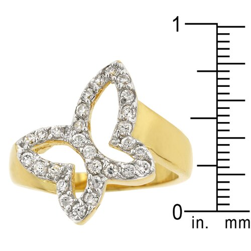 Kate Bissett TuTone Clear Cubic Zirconia Accented Butterfly Symbol Ring