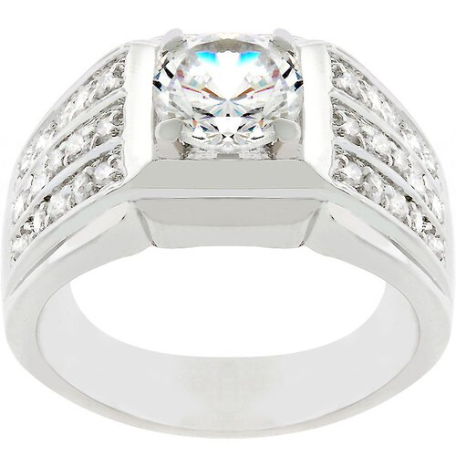 Silver-Tone Men's Clear Cubic Zirconia Bling Ring