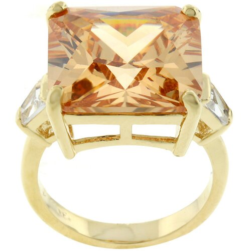 Kate Bissett Gold-Tone Princess-Cut Cubic Zirconia Cocktail Ring