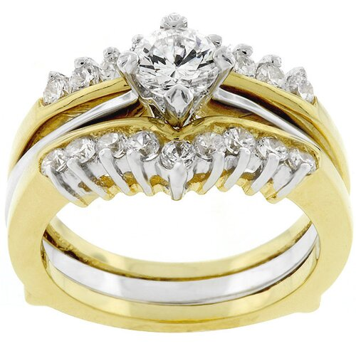 Kate Bissett Gold-Tone Clear Cubic Zirconia Bridal Ring Set