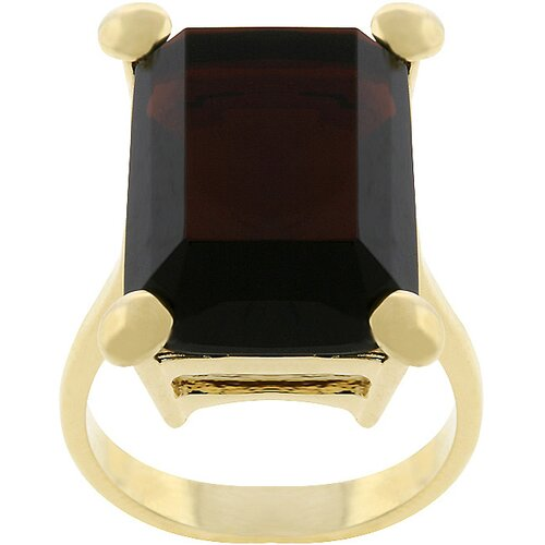 Kate Bissett Gold-Tone Emerald Cut Chocolate Cubic Zirconia Decadence Ring