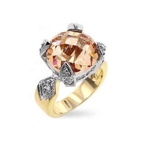 Gold-Tone Champagne Cubic Zirconia Engagement Ring