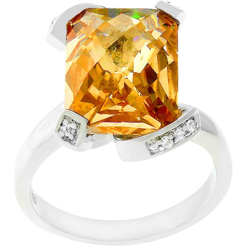 White Gold Rhodium Bonded Champagne Cubic Zirconia Ring