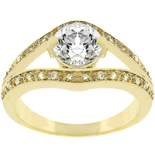 Gold-Tone Clear Cubic Zirconia Ring