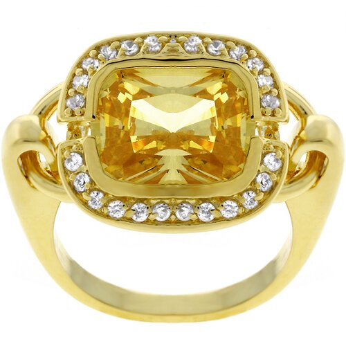 Gold-Tone Movable Cradle Yellow Cubic Zirconia Ring
