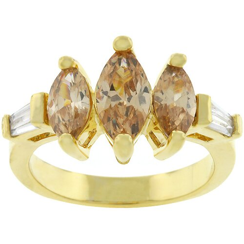 Kate Bissett Gold-Tone 3 Stone Marquise Cubic Zirconia Ring