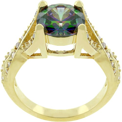 Yellow Gold Bonded Mystique Cubic Zirconia Ring