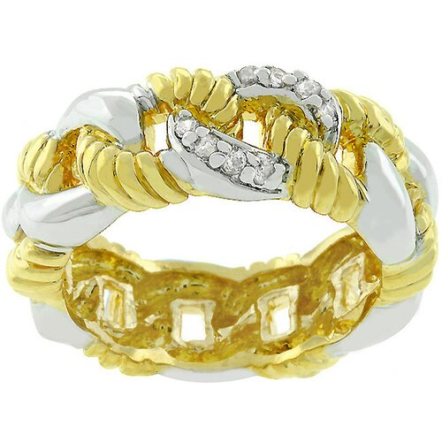 "Kate Bissett Two-Tone ""Linked By Love"" Cubic Zirconia Ring"
