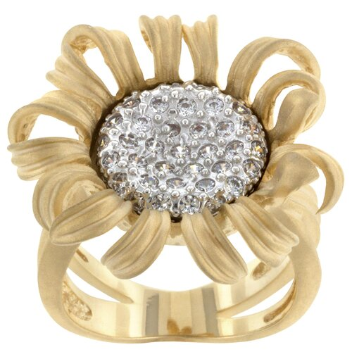 Round Cut Clear Cubic Zirconia Contemporary Flower Ring