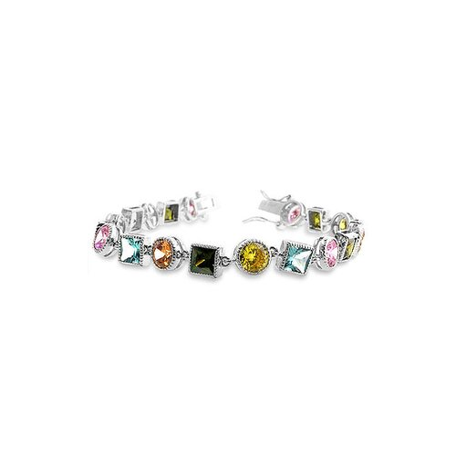 Kate Bissett Silver-Tone Multi-Colored Cubic Zirconia Bracelet