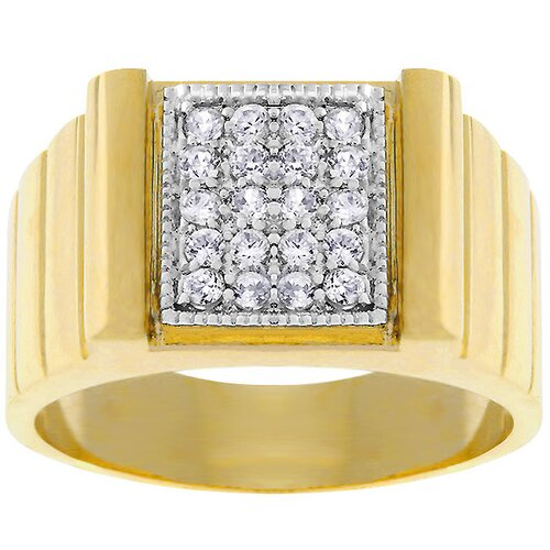 Gold-Tone Square Pave Cubic Zirconia Ring