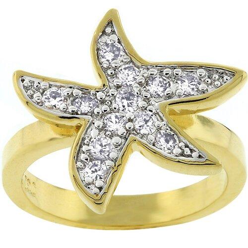 Gold-Tone Pave Cubic Zirconia Starfish Fashion Ring