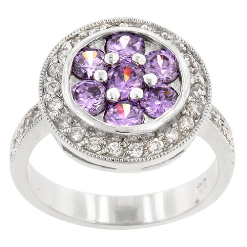 Amethyst and Clear Cubic Zirconia Beijing Lily Ring