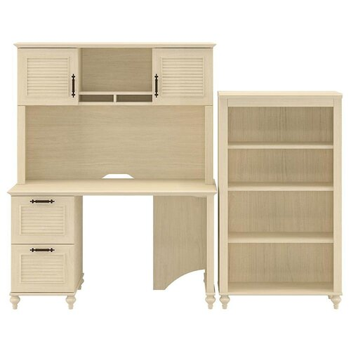 kathy ireland Office by Bush Volcano Dusk Small 4-Shelf Standard Desk Office Suite
