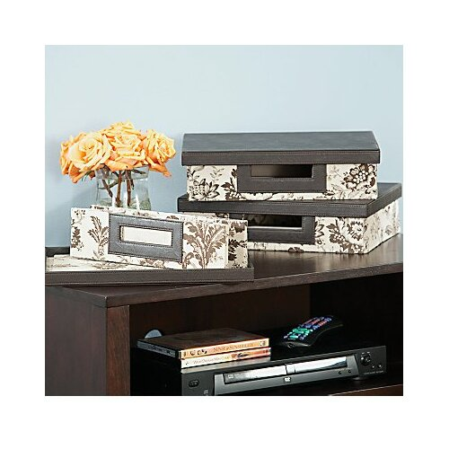 kathy ireland Office by Bush  Grand Expressions small storage bin collection in Neutral & Chocolate Floral Print