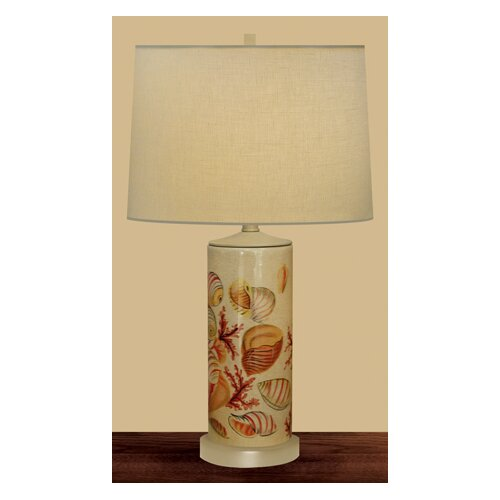 JB Hirsch Home Decor Seaside Column Table Lamp with Drum Shade