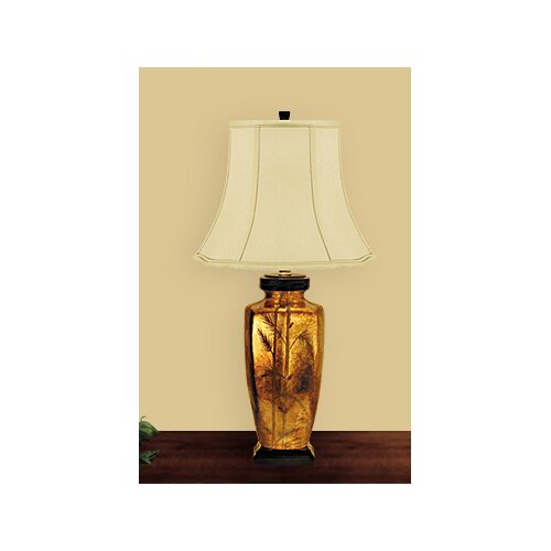 JB Hirsch Home Decor Fern Leaf Table Lamp with Bell Shade