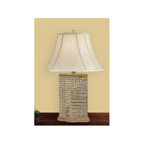 "JB Hirsch Home Decor Woven Wicker 25"" H Table Lamp with Square Shade"