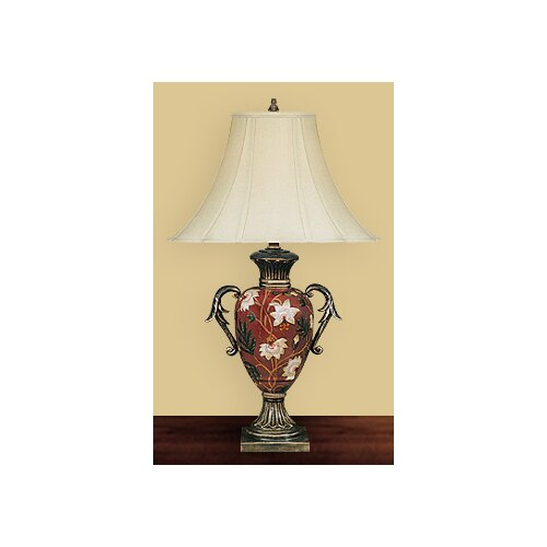 "JB Hirsch Home Decor Flower Vase 28"" H Table Lamp with Bell Shade"