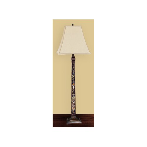 JB Hirsch Home Decor Reversed Painted Glass Panel Floor Lamp