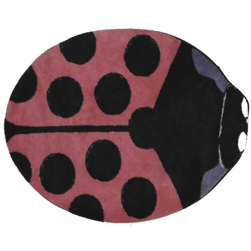 Fun Rugs Fun Time Shape Pink Lady Bug Kids Rug