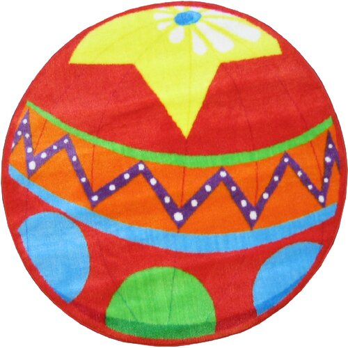 Fun Rugs Fun Shape High Pile Circus Ball Kids Rug