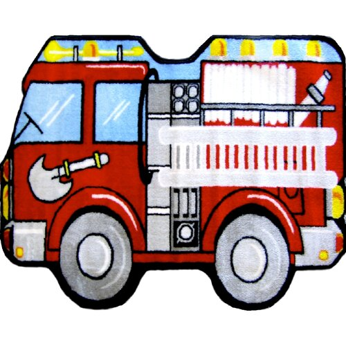 Fun Rugs Fun Shape Medium Pile Fire Truck Kids Rug