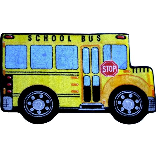 Fun Rugs Fun Shape High Pile School Bus Kids Rug