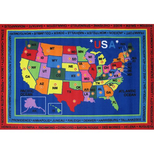 Fun Rugs Fun Time State Capitals Classroom Area Rug