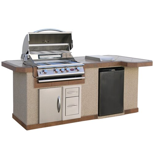 Calflame 96 bbq island 4 burner gas grill with side bar for Barbecue islands for sale