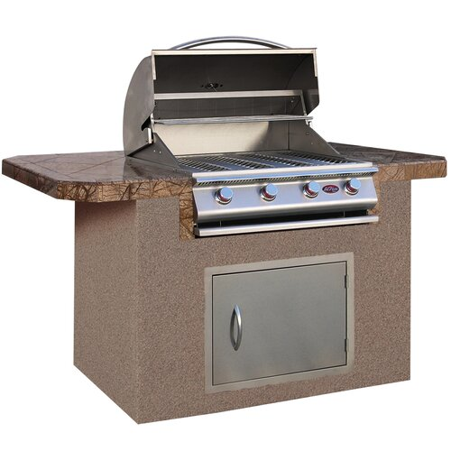 "CalFlame 72"" BBQ Island 4 Burner Gas Grill with Bar Depth Top"