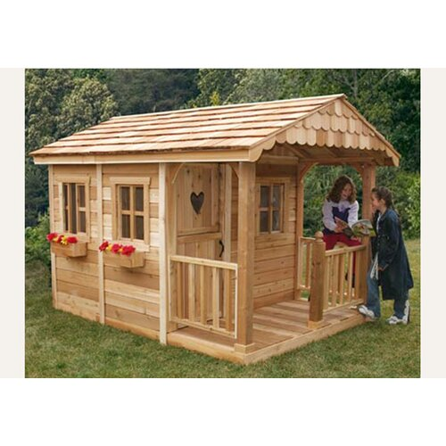 outdoor living today sunflower playhouse with 3 functional window and cedar deck porch  u0026 reviews