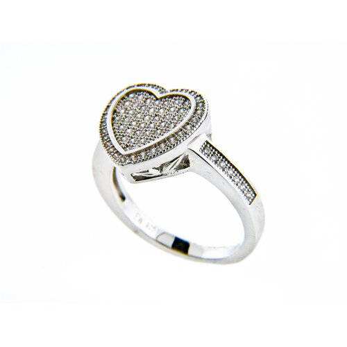 Edgewater Jewelry Micro Pave Cubic Zirconia Ridged Heart Ring