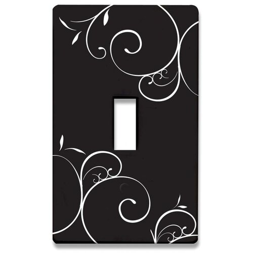HomePlates Worldwide Black and White Swirls Decorative Light Switch Cover - Single Toogle Switch
