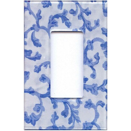 HomePlates Worldwide Artitude BlueandWhite Damask Decorative Light Switch Cover - Single Rocker Switch