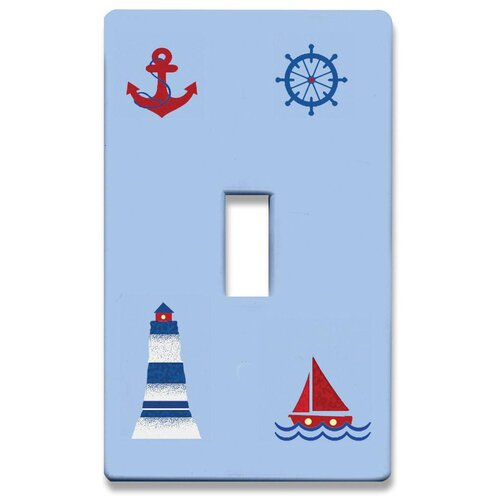 HomePlates Worldwide Nautical Decorative Light Switchplate Cover - Single Toggle Switch